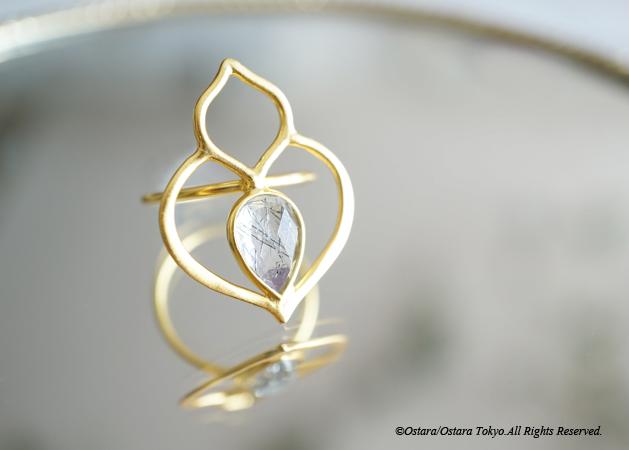 画像1: 【Gold Vermeil/Gemstone】Teardrop Black Rutile Matt Gold Ring