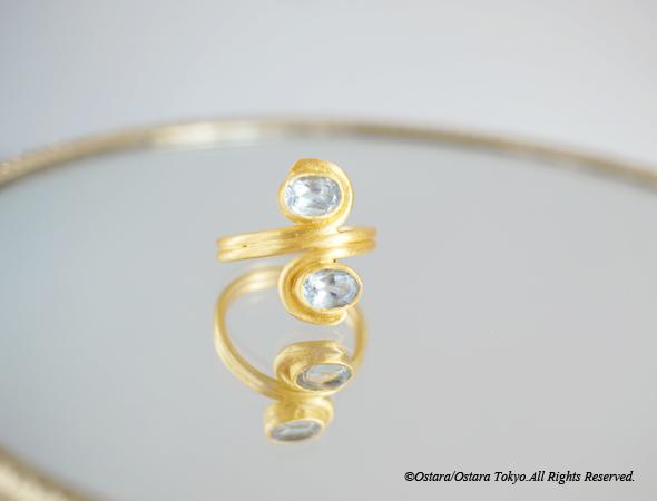 画像1: 【Gold Vermeil/Gemstone】Sky Blue Topaz Matt Gold Ring