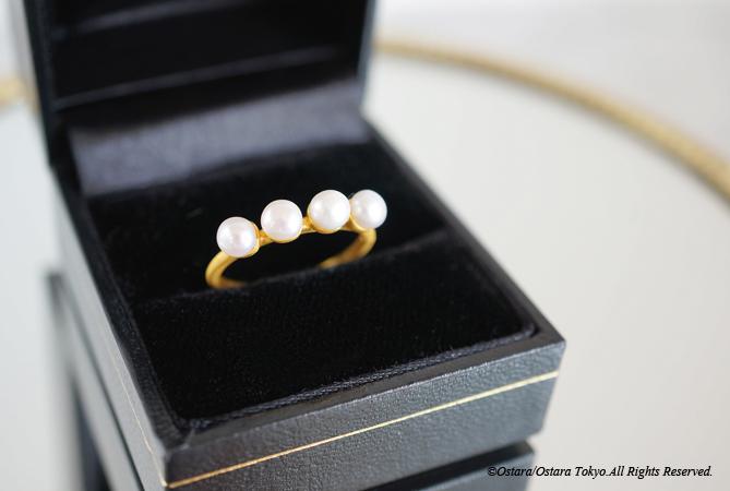 画像1: 【Gold Vermeil/Gemstone】4 Pearls Matt Gold Ring
